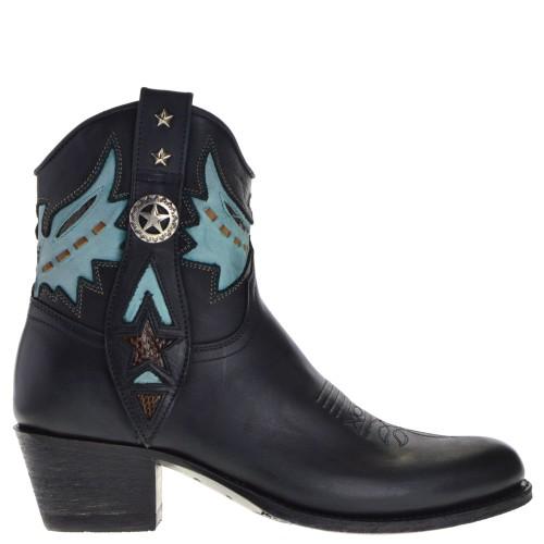 14034p-debora-nl-dames-western-boots-zwart-combi