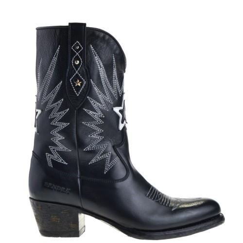 sendra-boots-16513-debora-nl-korte-dames-cowboylaarzen-zwart